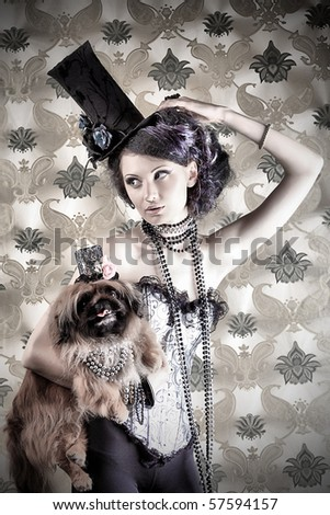 Portrait of a fashionable lady with a dog over vintage background. - stock photo