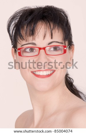 Portrait of a fashionable woman with glasses /eyewear - stock photo