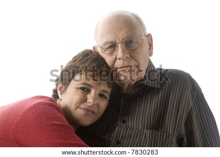 Portrait of a father and daughter isolated on white - stock photo