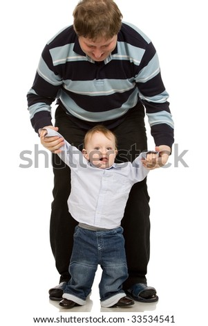 portrait of a father and son on a white background