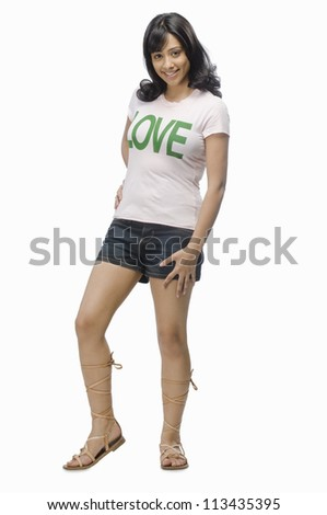 Portrait of a female fashion model posing - stock photo