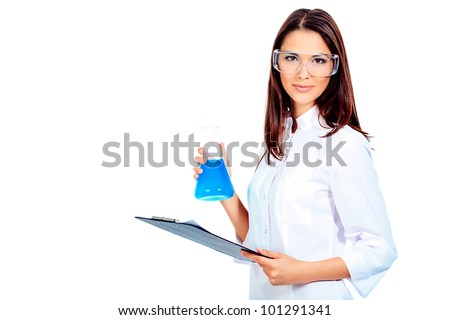 Portrait of a female laboratory assistant holding flask. Isolated over white. - stock photo