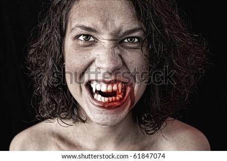 portrait of a female vampire - stock photo