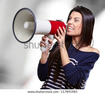 Portrait Of A Female With Megaphone, Background