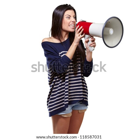Portrait Of A Female With Megaphone On White Background