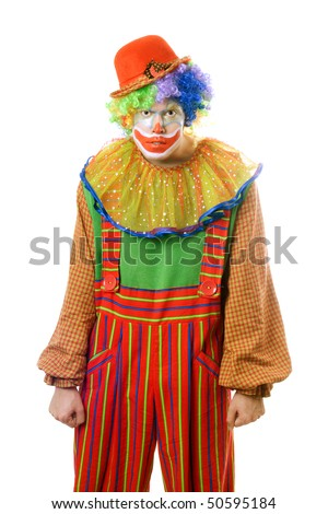 Portrait of a ferocious clown. Isolated on white - stock photo
