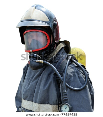 Portrait of a fire rescuer  in a mask with a breathing apparatus included - stock photo