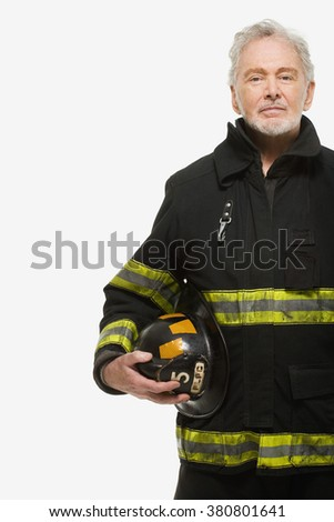Portrait of a firefighter - stock photo