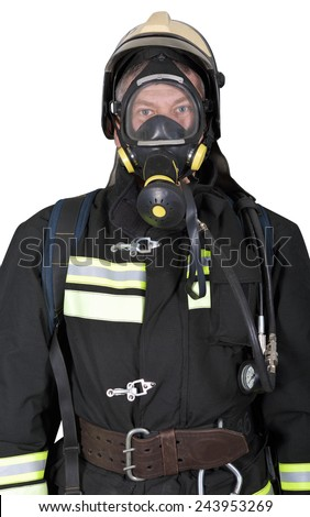 Portrait of a firefighter in breathing apparatus on a white background - stock photo