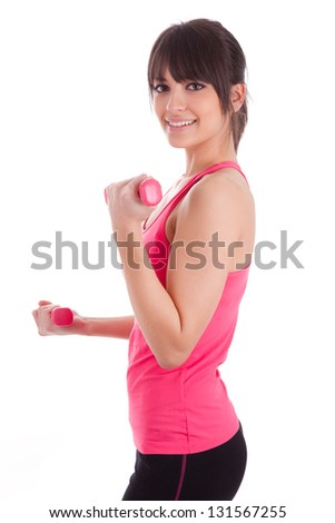 Portrait of a fitness woman working out with free weights,isolated on white background
