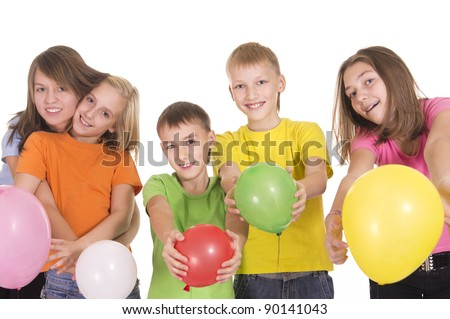portrait of a five happy kids posing