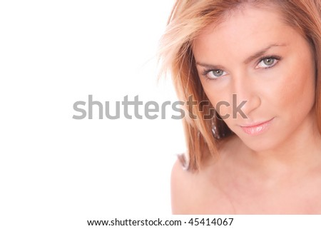 Portrait of a fresh and lovely blond woman on white background