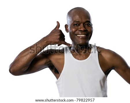 Portrait of a friendly afro American man showing call me gesture in studio on white isolated background - stock photo