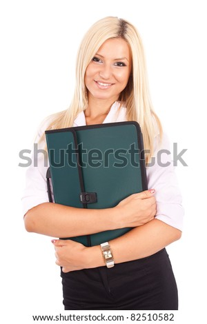 Portrait of a friendly businesswoman holding a briefcase isolated on white background