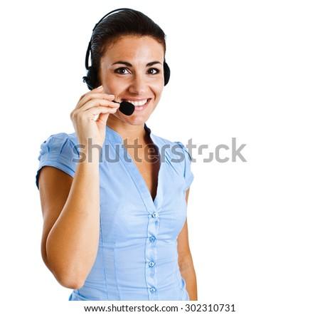 Portrait of a friendly customer representative - stock photo