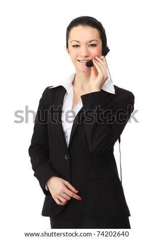 Portrait of a friendly customer service girl - stock photo