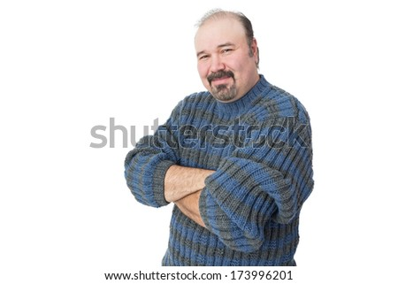 Portrait of a friendly mature man with arms crossed on a white background - stock photo