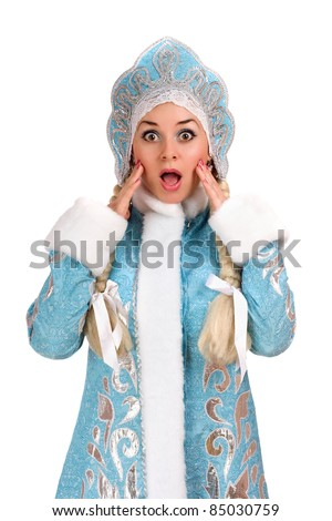 Portrait of a frightened Snow Maiden. Isolated - stock photo