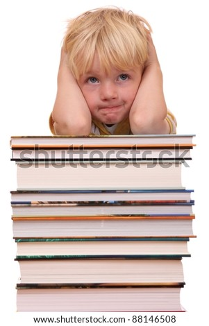 Portrait of a frustrated young preschool boy - stock photo