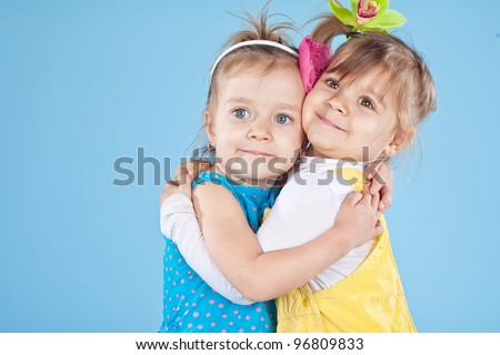 Portrait of a funny and beautiful girls - stock photo