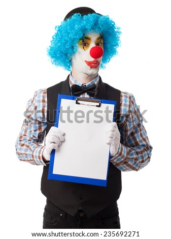 portrait of a funny clown showing files - stock photo