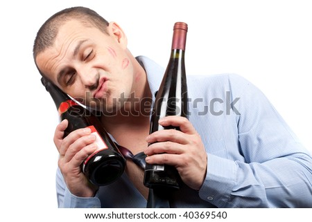 Portrait of a funny drunk businessman isolated on white background - stock photo