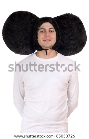 Portrait of a funny guy with big ears (Cheburashka). Isolated - stock photo
