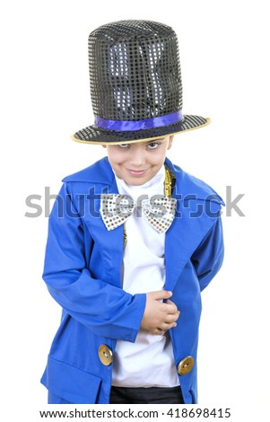 Portrait of a funny little boy in mad hatter costume while smiling, bowing and smiling to the camera against isolated white background. - stock photo