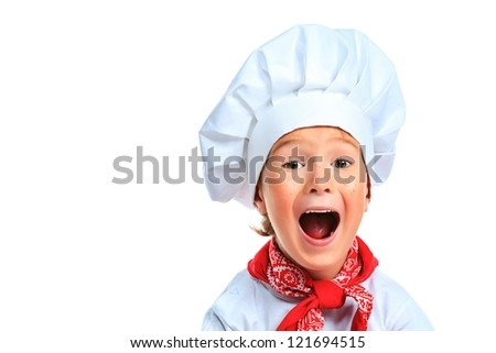 Portrait of a funny little kitchen boy in a white uniform. Isolated over white background. - stock photo
