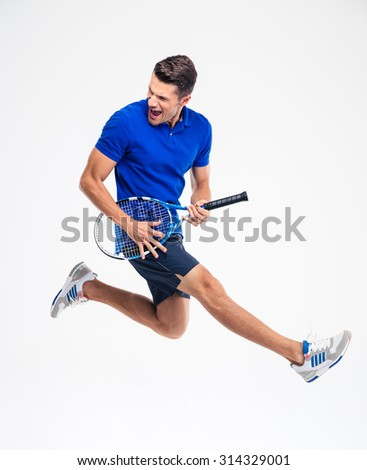 Portrait of a funny tennis player isolated on aw hite background - stock photo
