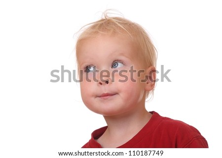 Portrait of a funny toddler on white background - stock photo