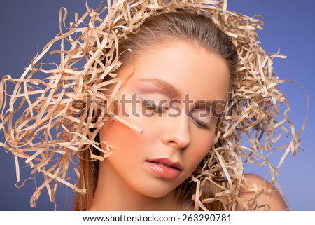 portrait of a gentle makeup. natural color - stock photo