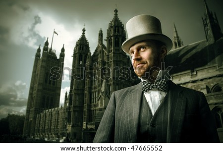 Portrait of a gentleman standing in front of a cathedral - stock photo