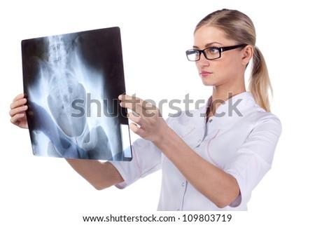 Portrait of a girl doctor. phonendoscope, ECG, X-ray - stock photo