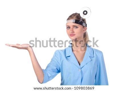 Portrait of a girl doctor. to keep the show - stock photo