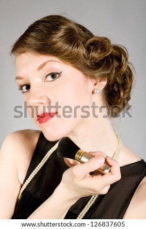 portrait of a girl in a retro style - stock photo