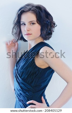 Portrait of a girl in black dress - stock photo