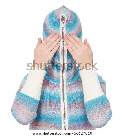 Portrait of a girl in cardigan with a hood with no face. See no evil.