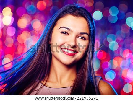 Portrait of a girl in nightclub - stock photo