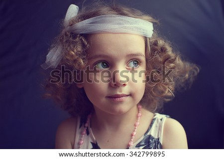 Portrait of a girl in retro style - stock photo