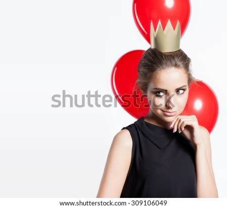 Portrait of a girl in the crown of balloons on a white background - stock photo