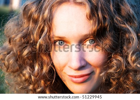 Portrait of a girl in the sunset light