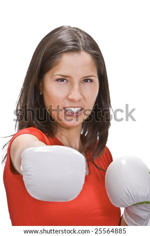 Portrait of a girl in white boxing gloves