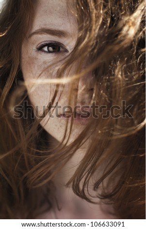 portrait of a girl on a windy day - stock photo