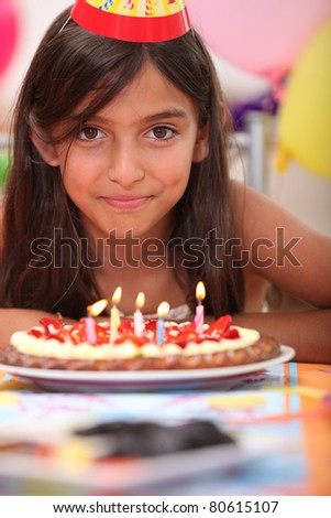 Portrait of a girl on her birthday - stock photo
