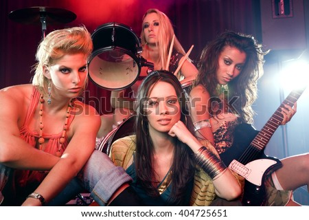 Portrait of a girl pop group - stock photo