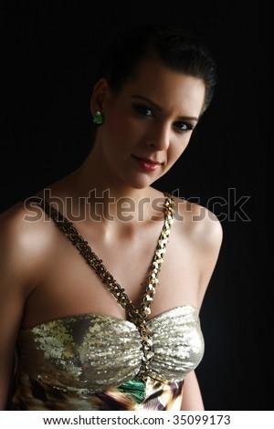 portrait of a girl, soft light, on black background - stock photo