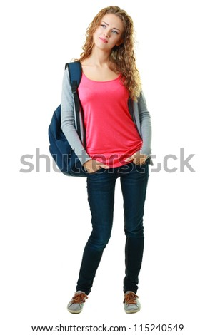 Portrait of a girl student. Isolated over white background. - stock photo