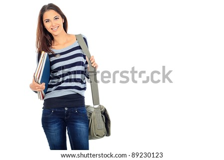 Portrait of a girl student with books. Isolated over white background. - stock photo