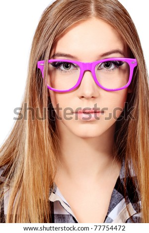 Portrait of a girl teenager in a big pink glasses. Isolated over white background. - stock photo